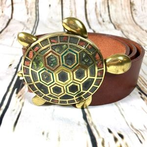 Anthropologie Belt Bronze Leather Brown Sz. L